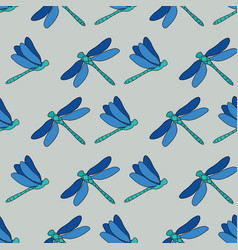 Dragonflies trellis repeat pattern design vector