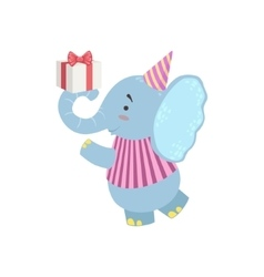 Elephant Cute Animal Character Attending Birthday vector
