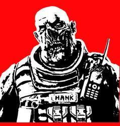 Fat zombie soldier vector