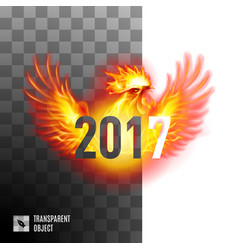 Fiery cockerel on transparent background symbol vector