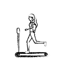 Figure healthy woman doing exercise in the runing vector