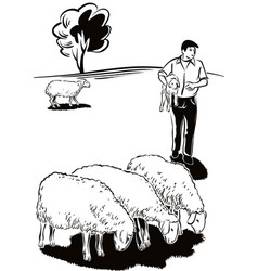 Flock of sheep and shepherd with a lamb in her vector