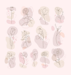 Flower hand drawn set single line art with pink vector
