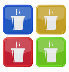 Four square color icons hot fastfood drink smoke vector