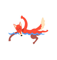 Fox swimming in swimming pool funny sportive wild vector