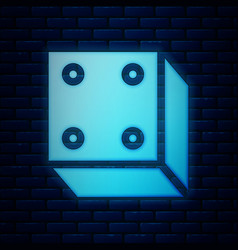 Glowing neon game dice icon isolated on brick wall vector