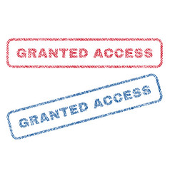 Granted access textile stamps vector