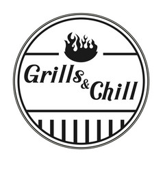 Grills chill logo white background vector