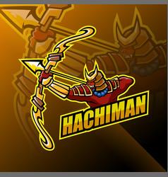 hachiman esport mascot logo design vector image