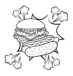 hamburger and hot dog black and white vector image
