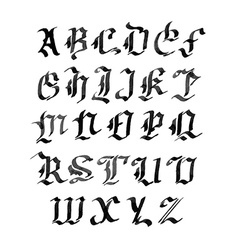 Hand drawn letters gothic style alphabet ink vector image