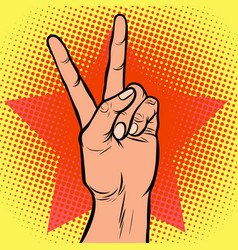 hand victory gesture vector image