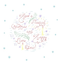 Handdrawn Colorful Christmas Card vector