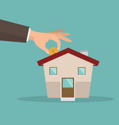 Hands putting coin wiht new house vector
