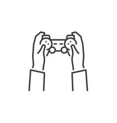 Hands with game controller concept outline vector