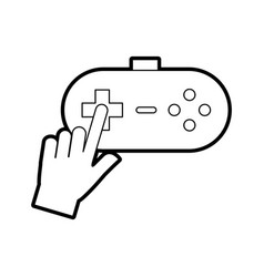 Hands with video game control icon vector