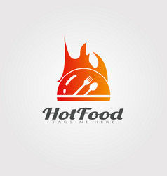 Hot and spicy food logo design restaurant food vector