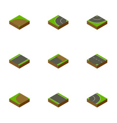 isometric road set of sand asphalt downward vector image