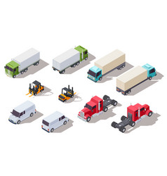 isometric truck transportation trucks vector image