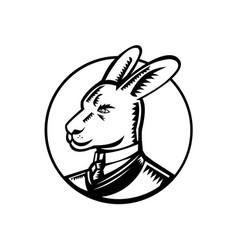 Kangaroo wearing business suit circle woodcut vector