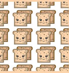 Kawaii cute tender breads nutrition background vector