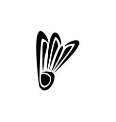 letter b and shuttlecock badminton flat logo vector image