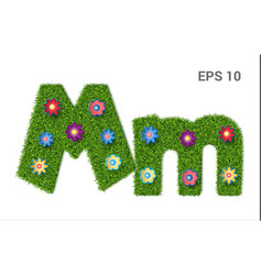 Letter mm with a texture of grass and flowers vector