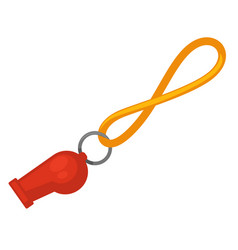 Lifeguard red whistle with yellow line isolated vector