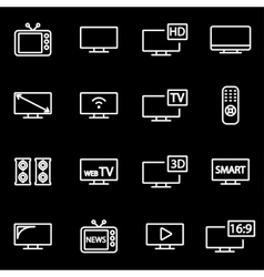 Line tv icon set vector