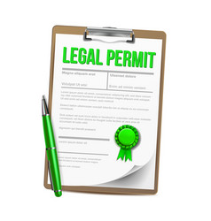 list of paper with legal permit clipboard vector image
