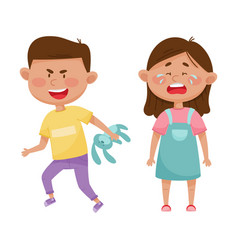 Little boy with grin on his face taking away toy vector