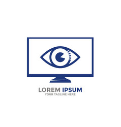 logo template computer monitor with open eye vector image