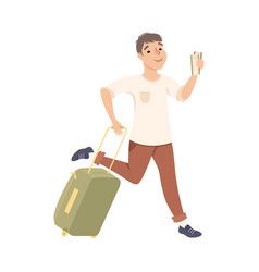 male tourist hurrying to flight at airport young vector image
