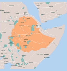 map ethiopia isolated eps 10 vector image