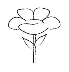Monochrome blurred silhouette of cartoon flower vector