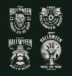 Monochrome vintage halloween emblems set vector