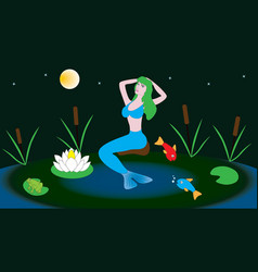 Mythical character mermaid sits in a pond vector
