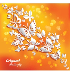 origami butterflies on the sunny background vector image