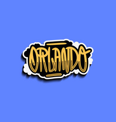 orlando florida usa hand lettering sticker design vector image