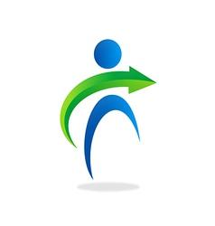 people abstract arrow logo vector image