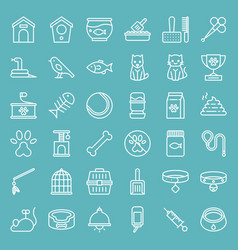 pet shop line icon set isolated on blue sky vector image