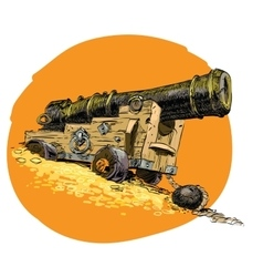 Pirate treasure marine gun vector image