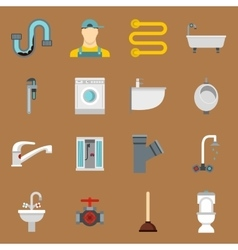 Plumbing icons set in flat style vector image