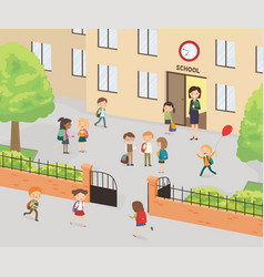 primary education group elementary school kids vector image