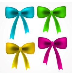 realistick set of colorful satin bow vector image