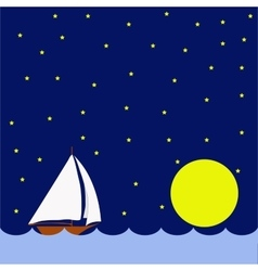 Sailing boat in the night huge moon vector image