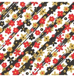 Seamless pattern with flowers on striped vector image