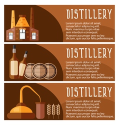 Set of banner for distillery industry with vector image