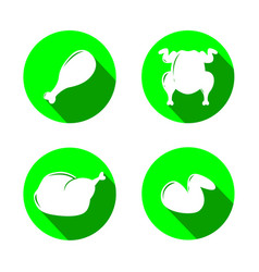 set of green icons with grilled chicken vector image