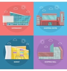 Shopping Centre Icon Set in Flat Design vector image
